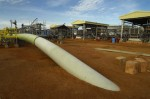 Kilometer Point Zero of the Chad-Cameroon oil pipeline. Kome, Chad. Esso Chad file photo.