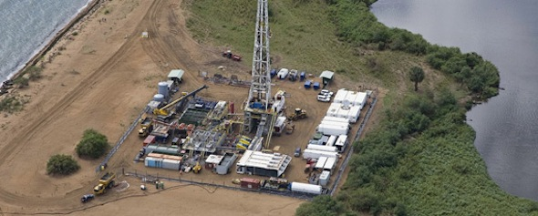 An aerial view of an oil-drilling site in Buliisa, Uganda. (AFP/Tullow Oil Uganda)